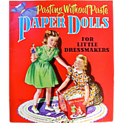 Pasting Without Paste, Paper Dolls For Little Dressmakers, Uncut, Vintage 1950, Saalfield