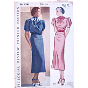 Pictorial Review Pattern 8341, Complete, Vintage 1925, Womens Frock Dress, Bust 34, Hip 37