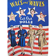 Vintage 1943 Wacs and Waves Paper Dolls Complete Original Circa World War II Whitman Cut ...