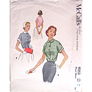 Misses Blouse Pattern - McCall's 9353 - Dated 1953 - Factory Folded - Size 16 - Bust 34