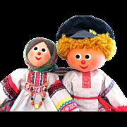 Ukrainian Costume Dolls Pair Cloth Souvenir Dolls Vintage 1970s Boy and Girl