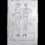 Butterick Pattern 6687, Factory Folded, Vintage 1930's, Junior Miss Dress or Frock, Size 16,