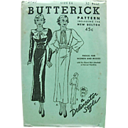 Misses Dress or Frock, Butterick Delineator Style Pattern 5922, Vintage 1930s, Factory Folded,