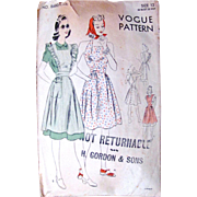 Play Dress or Pinafore, Vogue Pattern 8680, Misses Size 12, Bust 30, Complete, Vintage 1940s .