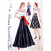 Simplicity 3130, Factory Folded, Vintage 1940s, Misses Blouse & Skirt, Size 12, Bust 30 Inches