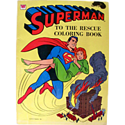 SOLD Superman To The Rescue Coloring Book UNUSED Whitman Vintage 1964
