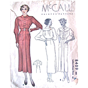 Misses Dress, McCall Pattern 8049, Vintage 1935, Factory Folded, Size 38