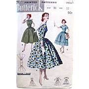 1956 Vintage Misses Full Skirt Dress, Butterick 7651, Uncut, Printed Sewing Pattern, Size 12,