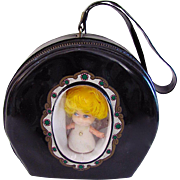 Pee Wees Hat Box Doll Case or Purse Vintage 1960's With Doll