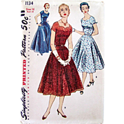 Simplicity 1134, Uncut Sewing Pattern, Evening Dress, Vintage 1955, Dress In Two Lengths, ...
