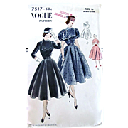 Vogue Pattern 7517, Dinner Dress, Full Skirt, Narrow Waist, Size 16, Factory Folded Vintage ..