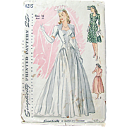 Vintage Wedding Gown Pattern, Simplicity 4215, Circa 1940s, Size 16, Bust 34, Misses' Dress ..