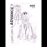 Wedding Dress Pattern, Advance 9302, UNCUT, Vintage 1960s, Misses' Bridal Gown, Size 16, Bust