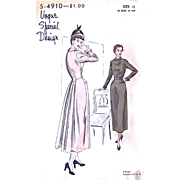 Vogue Special Design Pattern S-4910, Vintage 1940s Cocktail Dress with Dropped Waist Back Pane
