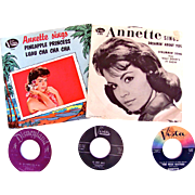 Annette Sings, Lot of 5 Different 45-RPM Records, Picture Sleeves, Disneyland, Buena Vista, ..