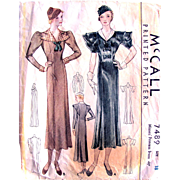 McCall Printed Pattern 7489, Misses Princess Dress, Vintage 1933, Size 18, Bust 36, Complete