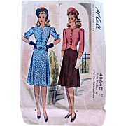 World War II Junior Miss Dress Pattern, McCall 4064, Complete, Size 15, Bust 33 Inches