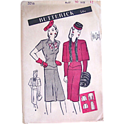 1940s Misses Overblouse, Dress and Cape Pattern, Butterick 3216, Complete Factory Folded, Size