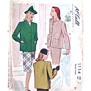 Misses Jacket, Uncut Sewing Pattern, McCall 5534, Vintage 1943, Size 12 Bust 30