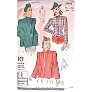Jacket Pattern, Du Barry 2464B, Misses Size 16, Bust 34, Factory Folded, Dated 1940