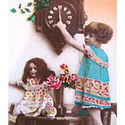 Happy New Year Vintage Real Photo Postcard Tinted, Little Girl, Bisque Doll, Cuckoo Clock, Mad