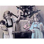 c1911 Tinted RPPC, Girls, Dolls, Toys, Decorated Christmas Tree, Real Photo Postcard, Fawcette