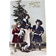 c1912 Tinted RPPC, Boy, Girls, Doll, Horn, Violin, Toys, Decorated Christmas Tree, Real Photo