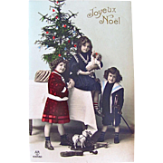 Tinted RPPC, Girls, Boy, Doll, Violin, Toys, Decorated Christmas Tree, Real Photo Postcard, ..