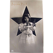 RPPC, Angelic Little Girl, Doll, Christmas Tree, Real Photo Postcard, EAS