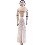 Milliners Model, German Paper Mache, 17-Inch Doll with Original Leather Body, Wood Arms, Legs