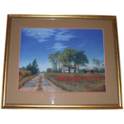 "REDUCED Original Pastel - William Nelson ""Country Road"""