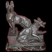 """REDUCED L. Carvin Bronze Sculpture,  German Shepherds (Alsatians) - """"Bonne Garde"""""""