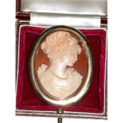 REDUCED Exquisite Large Shell Cameo, 9 Karat Gold Mount, 19th Century