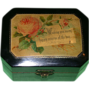 """REDUCED 19th Century Black Lacquer Mauchline Gift Box - """"Happy Returns Of The Day""""!"""