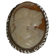 REDUCED Antique Carved Shell Cameo with Two Portraits in Profile, 19th Century