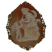 """REDUCED Antique Huge Mythological Hand-Carved Shell Cameo, """"Euterpe with Angel"""" 16K"""