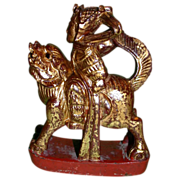 REDUCED Antique Chinese Mythological Wood Carving, Warrior Riding Fantasy Animal To Battle, c.