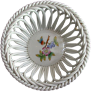 REDUCED Herend Handpainted Openwork (Reticulated) Basket Bowl