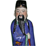 REDUCED Large Hand Painted Chinese Model of An Immortal, Signed