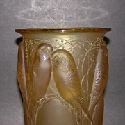 SOLD Museum Quality Rene Lalique Ceylan Vase. Yellow Amber
