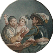 """SOLD Marvelous Print """"The Gamblers"""" c 1778, London, England"""