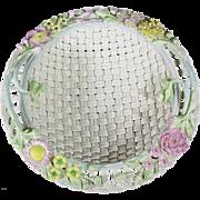 REDUCED Rare and Exquisite Belleek Round Basket No. 8, No 582, circa 1955-1979, Fermanagh
