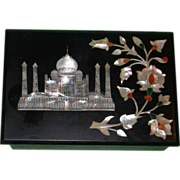 REDUCED The Taj Mahal, Greatest Monument to Love Of All Time, on Pietra Dura Box from India