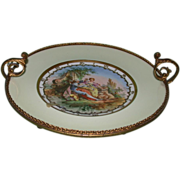 REDUCED Exquisite Antique Limoges Plate in Metal Frame, c 1880
