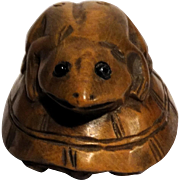 Well-Carved Frog On A Turtle Signed Japanese Wood Netsuke