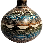 REDUCED Native American (Navajo) Hand-Etched Hand-Painted Pot With Turquoise Cabochon, Signed