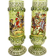 REDUCED Outstanding Antique Pair Of Enameled Bohemian Glass Footed Vases, Signed
