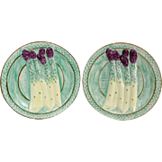 REDUCED Vintage Majolica Pottery Asparagus Plates