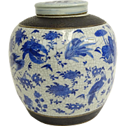 Large Antique Chinese Blue & White Porcelain Ginger Jar With Lid. The body with flower, bird .