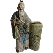 REDUCED Large Chinese Mudman Standing Sage With Brushpot and Cup